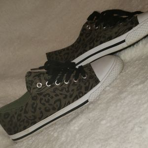 Olive green and black leopard shoes